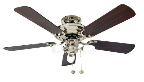 "Fantasia Mayfair Combi 42"" Polished Brass Ceiling Fan +  Light 115502"